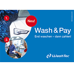 "Pump Topper ""Wash & Pay"" DIN A 4 quer"