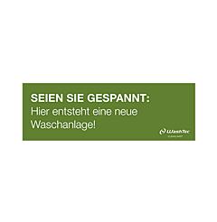 """Banner """"Neue Waschanlage"""" 3x1 m grün"""