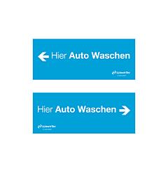 """Einfahrtsschild """"Hier Auto Waschen"""",blau"""