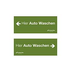 """Einfahrtsschild """"Hier Auto Waschen"""",grün"""