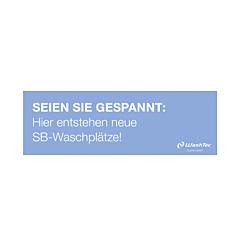 "Banner ""Neue SB-Plätze"" 3x1 m blau"