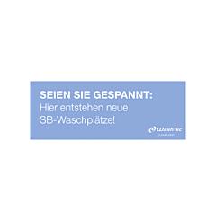 "Banner ""Neue SB-Plätze"" 4x1,5 m blau"