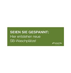 """Banner """"Neue SB-Plätze"""" 3x1 m grün"""