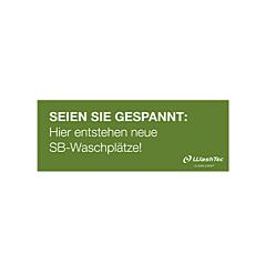 """Banner """"Neue SB-Plätze"""" 4x1,5 m grün"""