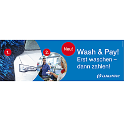 "Banner ""Wash & Pay"" 3x1m"